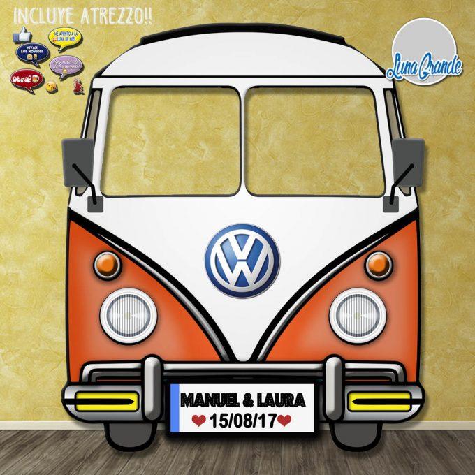 Photocall furgoneta hippie clásica naranja frontal