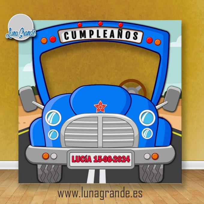 Photocall Infantil Autobús Escolar Azul Personalizado