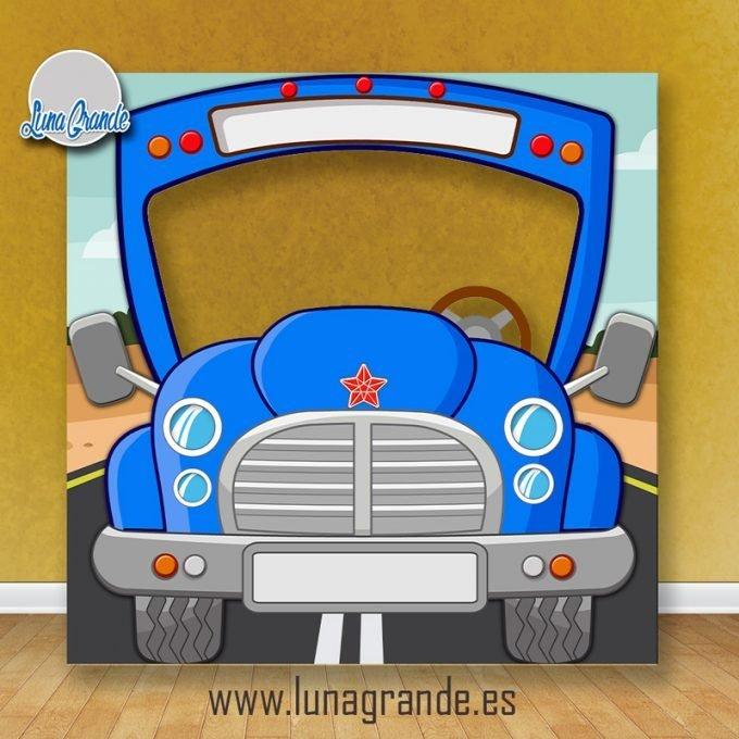 Photocall Infantil Autobús Escolar Azul Sin Personalizar