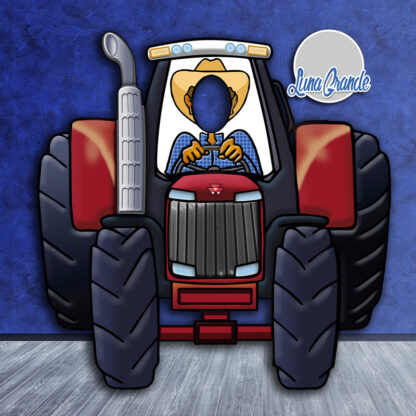 Photocall Infantil tractor Rojo Luna Grande