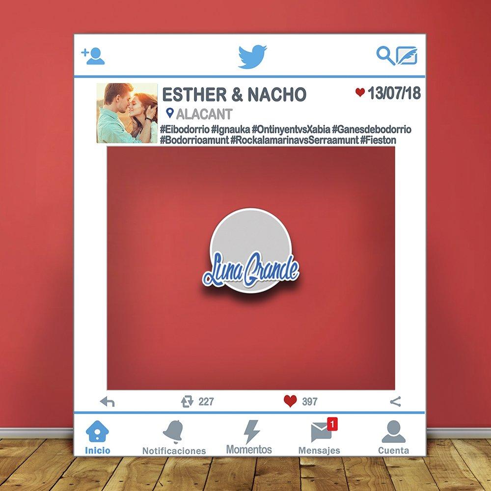 Photocall Marco Twitter 120x100 Totalmente personalizado, Envío gratis