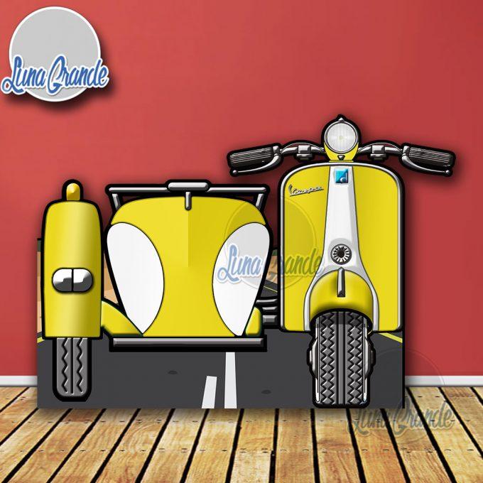 Photocall Moto Scooter con Sidecar Amarilla y Blanca