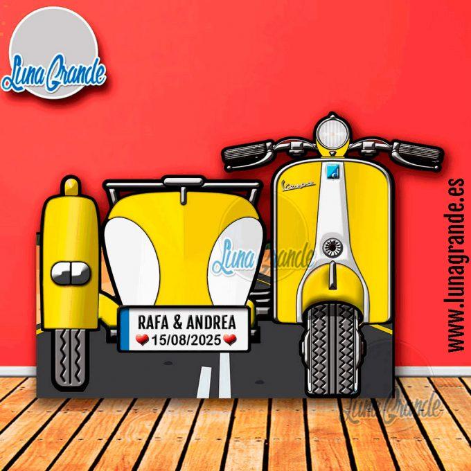 Photocall XXL Moto Scooter con Sidecar amarilla