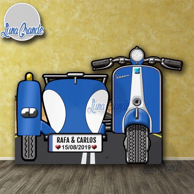 Photocall Moto Scooter con Sidecar Azul y Blanca