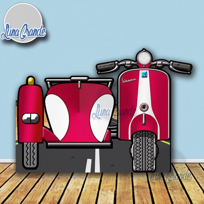 Photocall Moto Scooter con Sidecar Roja y Blanca