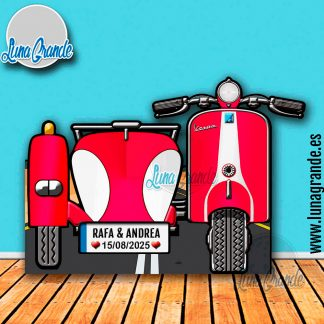 Photocall XXL Moto Scooter con Sidecar