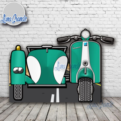 Photocall Moto Scooter con Sidecar Turquesa y Blanca