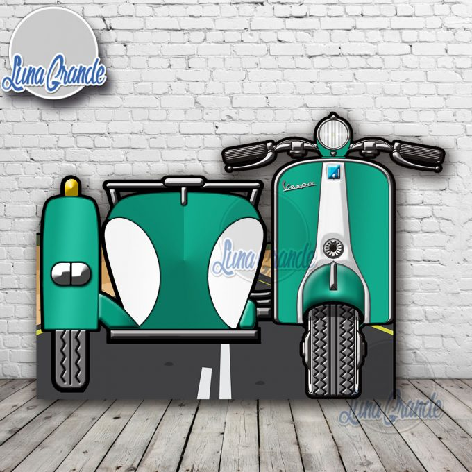 Photocall Moto Scooter con Sidecar Turquesa y Blanca