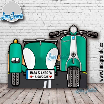 Photocall XXL Moto Scooter con Sidecar verde turquesa