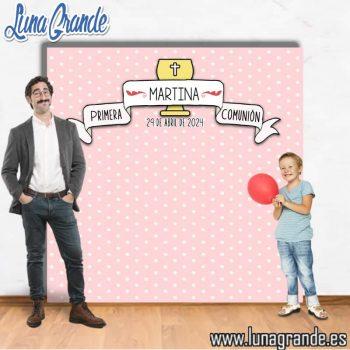 Photocall Primera Comunion puntitos rosa