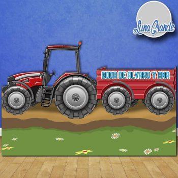 Photocall Tractor con remolque rojo LG