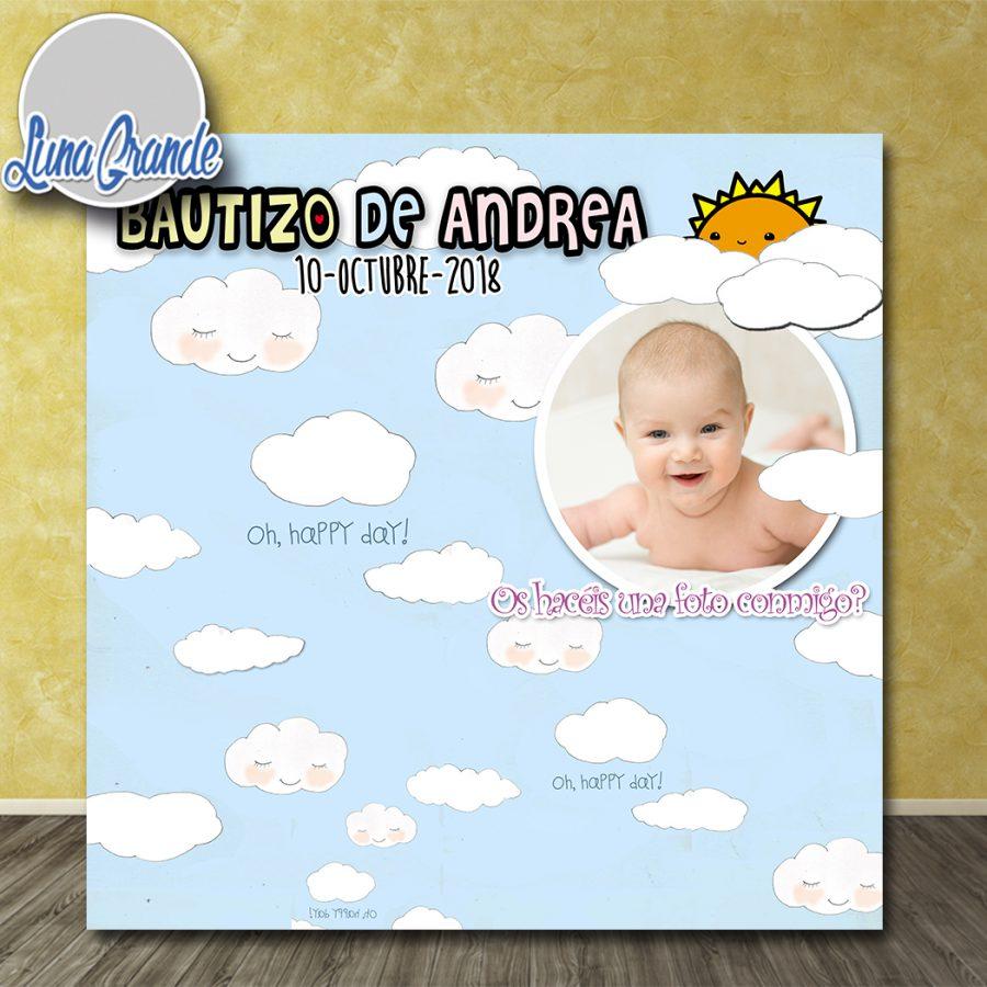 Photocall Bautizo Cielo con Sol y Nubes