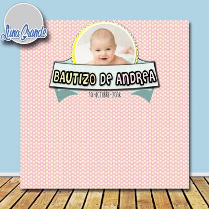 Photocall Bautizo puntitos Rosa Niña