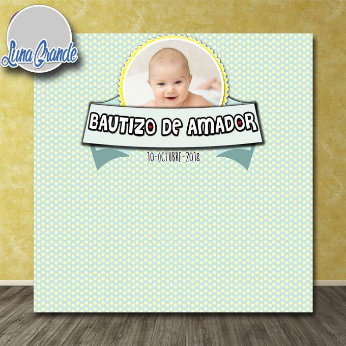 Photocall Bautizo puntitos Rosa Niño