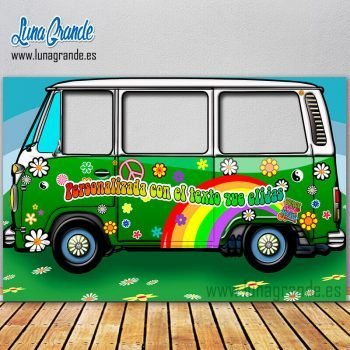 Photocall furgoneta hippie verde XXL