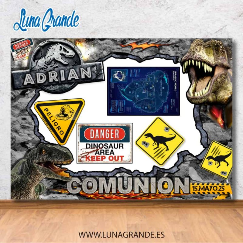 Photocall Marco más adornos de decoración para fiesta temática dinosaurios