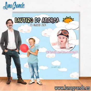 Photocall para Bautizos nubes