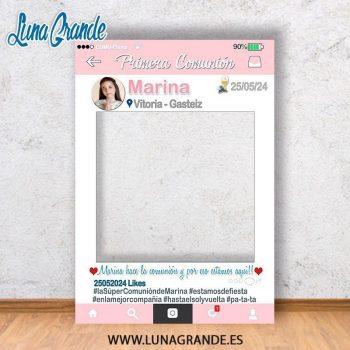 Photocall para comunión Marco Recortado Rosa