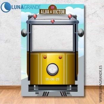 Photocall tranvía amarillo