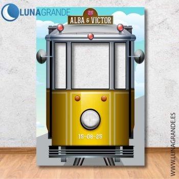 Photocall tranvía amarillo tres ventanas