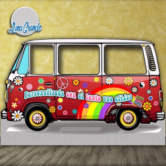Photocall furgoneta hippie Roja XXL