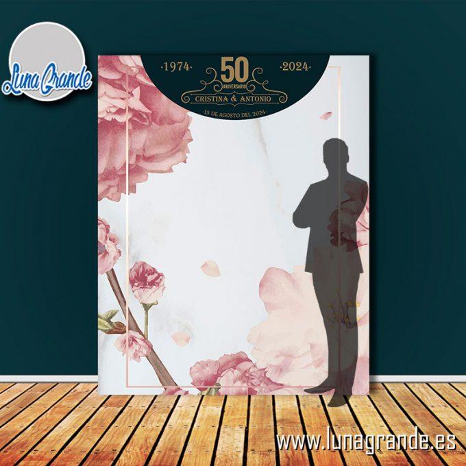 Photocall para Bodas de Plata diseño Floral