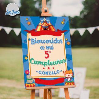 Cartel Bienvenida Cumpleaños Infantil Circo