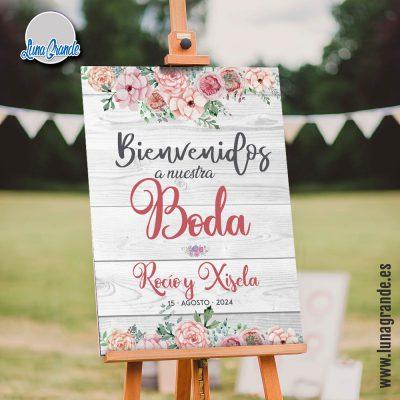 Cartel de Boda - Bienvenida Floral Vintage Madera
