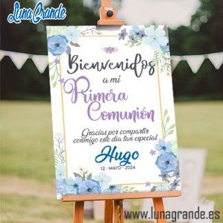 Cartel de bienvenida Comunión Floral Azul
