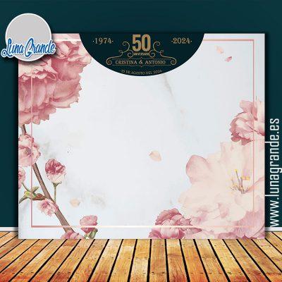 Photocall para Aniversario diseño Floral