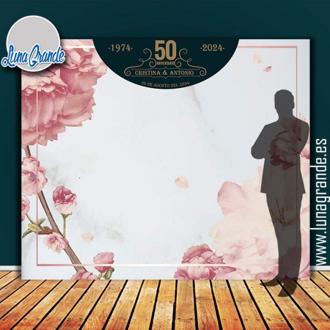 Photocall para Bodas de Oro diseño Floral