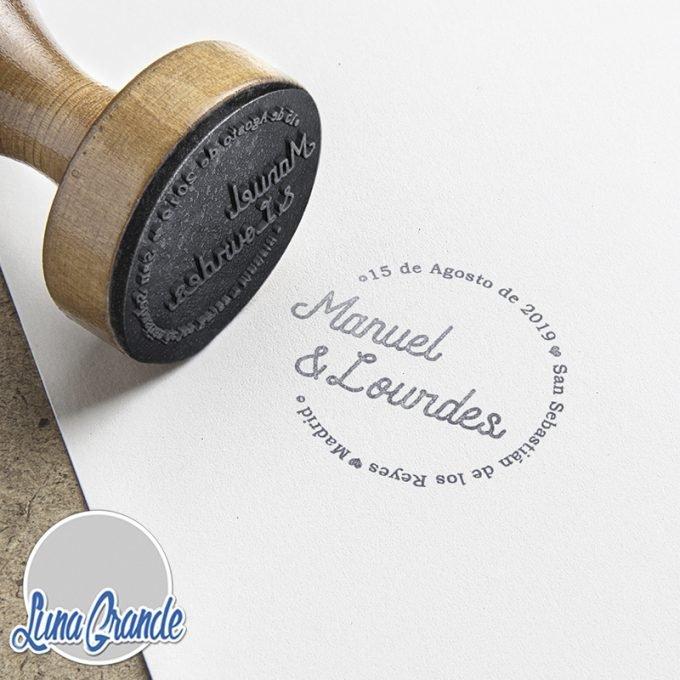 Sello personalizado Texto Circular para Bodas papel