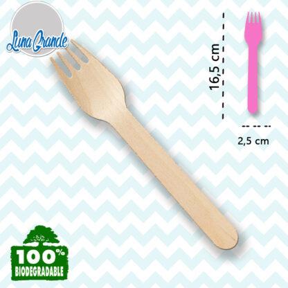 Tenedor de madera para fiestas