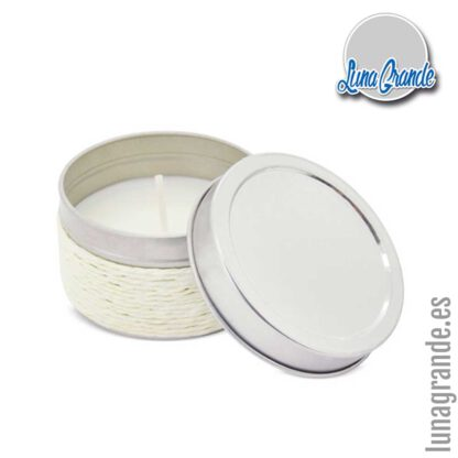 Vela aromática en lata blanca