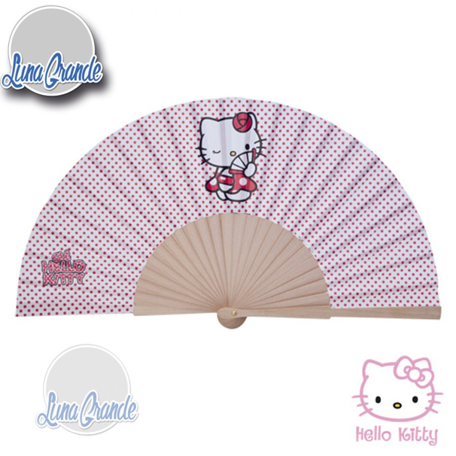 abanico hello kitty madera natural