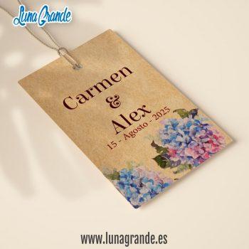 etiqueta colgante kraft para bodas personalizada con diseño floral