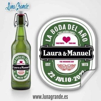 etiqueta personalizada cerveza Boda