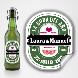 etiqueta personalizada cerveza luna grande Boda