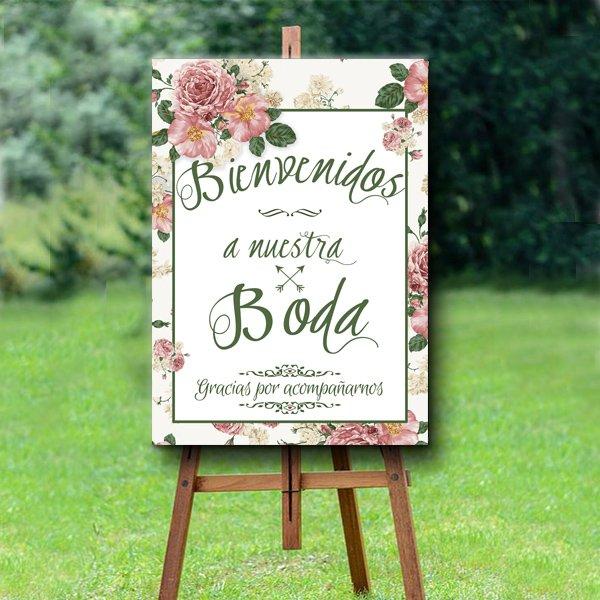 Cartel bienvenida floral Sin personalizar