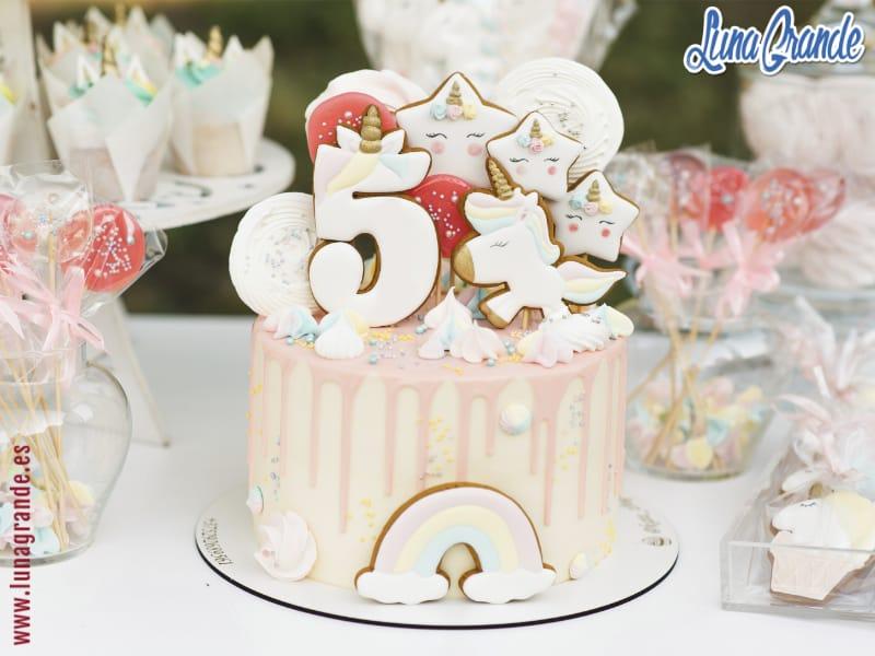 tarta de cumpleaños infantil temática unicornios